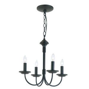 New Century Four-Light Black Chandelier