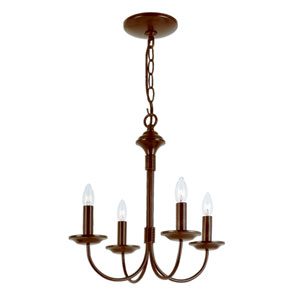 Colonial Energy Saving Four-Light Chandelier In Bronze