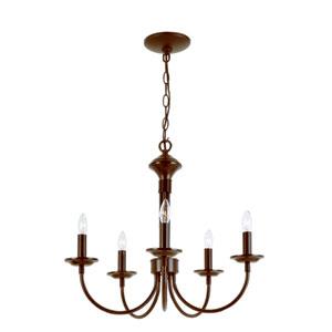 Colonial Energy Saving Five-Light Chandelier In Bronze