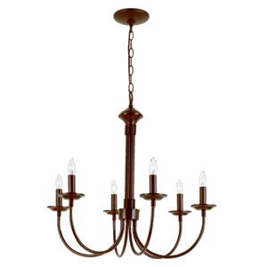 Colonial Energy Saving Six-Light Chandelier In Bronze