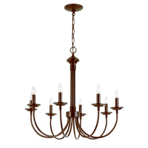 Colonial Energy Saving Eight-Light Chandelier In Bronze