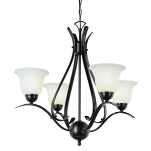 Contemporary Four-Light Rubbed Oil Bronze Chandelier
