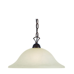 Ribbon Branched Rubbed Oil Bronze 16-Inch Pendant with White Marbleized Glass