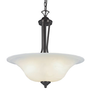 Ribbon Branched Rubbed Oil Bronze 20-Inch Three Light Pendant with White Marbleized Glass