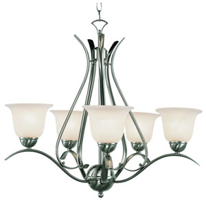 Contemporary Five-Light Brushed Nickel Chandelier
