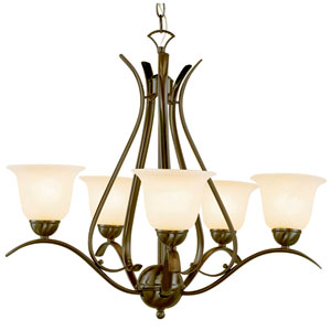 Ribbon Branched Five-Light Chandelier In Bronze