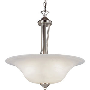 Brushed Nickel Ribbon Branched 16-Inch Semi-Flush Mount with White Marbleized Glass