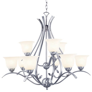 Ribbon Branched 2 Tier Nine-Light Chandelier
