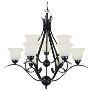 Contemporary Nine-Light Rubbed Oil Bronze Chandelier