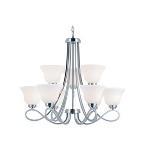 Nine-Light Chandelier -Brushed Nickel With White Marbleized Glass