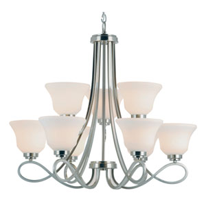 Infinity 2 Tier Nine-Light Chandelier -Brushed Nickel
