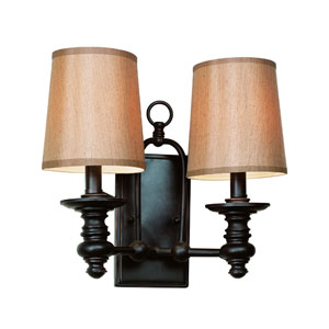 Modern Meets Traditional Rubbed Oil Bronze Two-Light Wall Sconce