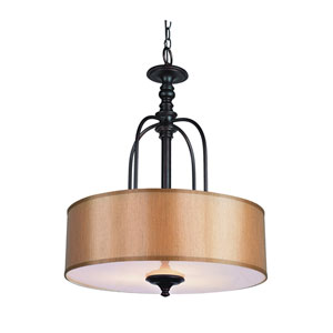 Modern Meets Traditional Rubbed Oil Bronze Three-Light Pendant