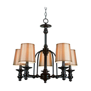 Modern Meets Traditional Rubbed Oil Bronze Five-Light Chandelier