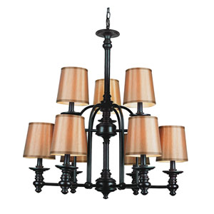 Modern Meets Traditional Rubbed Oil Bronze Nine-Light Chandelier