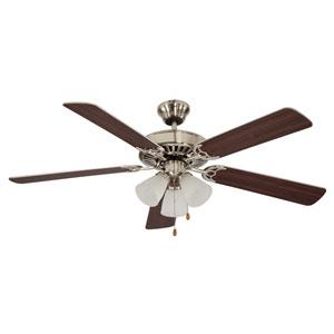 Brushed Nickel Three-Light 52-Inch Ceiling Fan