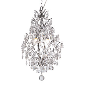 Versailles Polished Chrome Three Light Drop Pendant with Cut Crystal Bead Strands