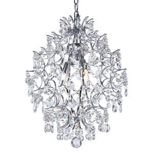 Versailles Polished Chrome 3 Light Pendant with Cut Crystal Bead Strands