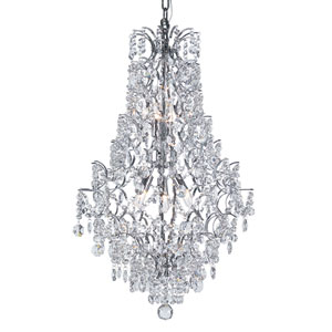 Versailles Polished Chrome Cascade 5 Light Chandelier with Cut Crystal Bead Strands