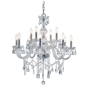 Versailles Polished Chrome 12 Light Crystal Chandelier with Cut Crystal Bead Strands