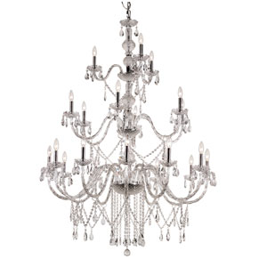 Versailles Polished Chrome 21 Light Crystal Chandelier with Cut Crystal Bead Strands