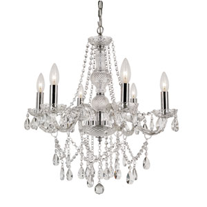 Versailles Polished Chrome Six Light Crystal Chandelier with Cut Crystal Bead Strands