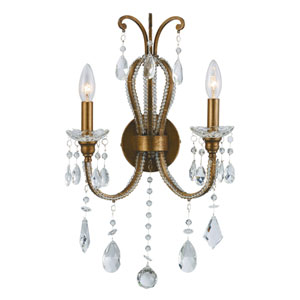 Juglans Antique Gold Two-Light Wall Sconce