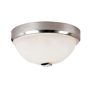 Brushed Nickel LED Squared Cap 13-Inch Flush Mount with White Frosted Glass