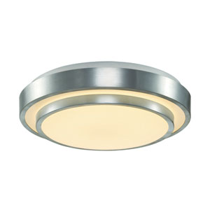 LED Acrylic Double 14-Inch Flush Mount with White Acrylic, Round Shade