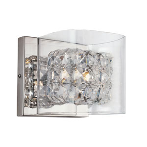 Polished Chrome Glassed Cube Wall Adjustable Sconce with Clear Glass