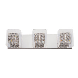 Polished Chrome Glassed Cube 3 Light Bath Fixture with Clear Glass