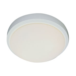 White Classic Energy Saver 15-Inch Frosted Flush Mount with White Frosted Glass