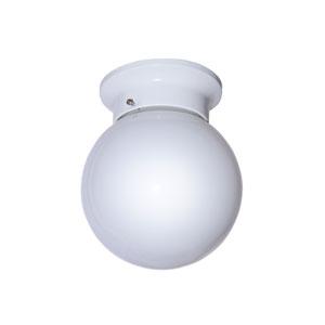 Idlewyld 6 Inch Globe Flush Mount -White