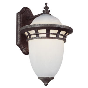 One-Light Antique Pewter Small Outdoor Downlight Wall Lantern