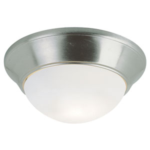 Energy Saving White Frosted 11 Inch Flushmount -Brushed Nickel