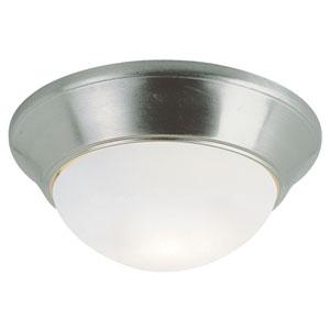 Energy Saving White Frosted 14 Inch Flushmount -Brushed Nickel