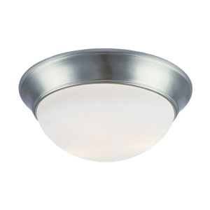 Energy Saving White Frosted 16 Inch Three-Light Flush Mount -Brushed Nickel