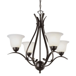Energy Saving Ribbon Branched Four-Light Mini Chandelier In Bronze