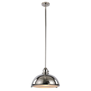 Polished Nickel One-Light 17-Inch Wide Dome Pendant