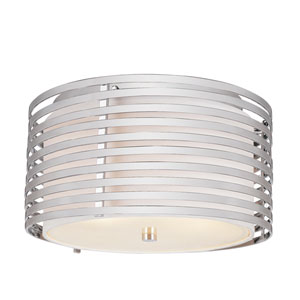 Chrome Rails 13 Inch Three-Light Flush Mount -Polished Chrome