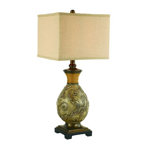 White Wash Patina and Bronze One-Light Table Lamp
