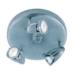 Three-Light Brushed Nickel Round Three-Light Semi-Flush