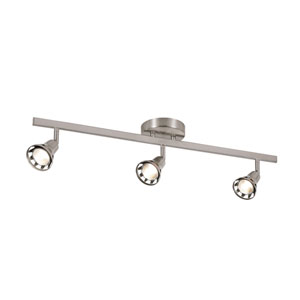 Contemporary Brushed Nickel Adjustable Three Light Close to Ceiling