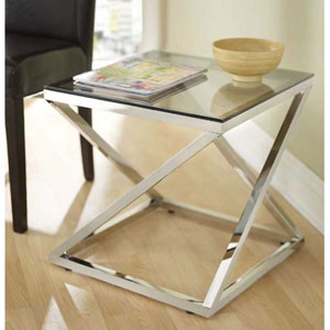 Gramercy Polished Stainless Steel End Table