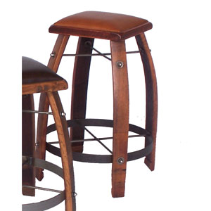 Pine 24-Inch Stool with Tan Leather Seat
