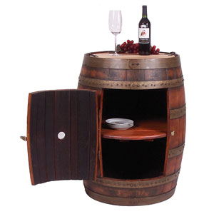 Pine Full Barrel Cabinet on Casters