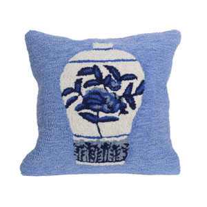 Frontporch Blue 18-Inch Ginger Jars Outdoor Pillow