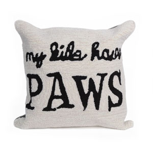 Frontporch Neutral 18-Inch My Kids Have Paws Outdoor Pillow