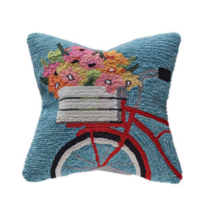 Frontporch Blue 18-Inch Bike Ride Outdoor Pillow