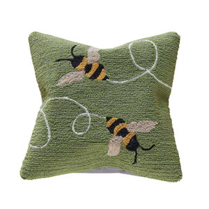 Frontporch Green 18-Inch Buzzy Bees Outdoor Pillow